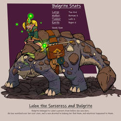 Lulon the Sorceress and Bulgrite by umbrafox