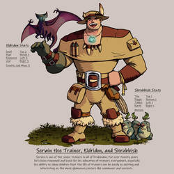 Serwin the Trainer, Eldridon, and Shrubbish by umbrafox