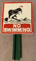 Battlebots Kraken NO SWIMMING sign