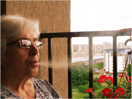 Grandmother smoking by kazikox