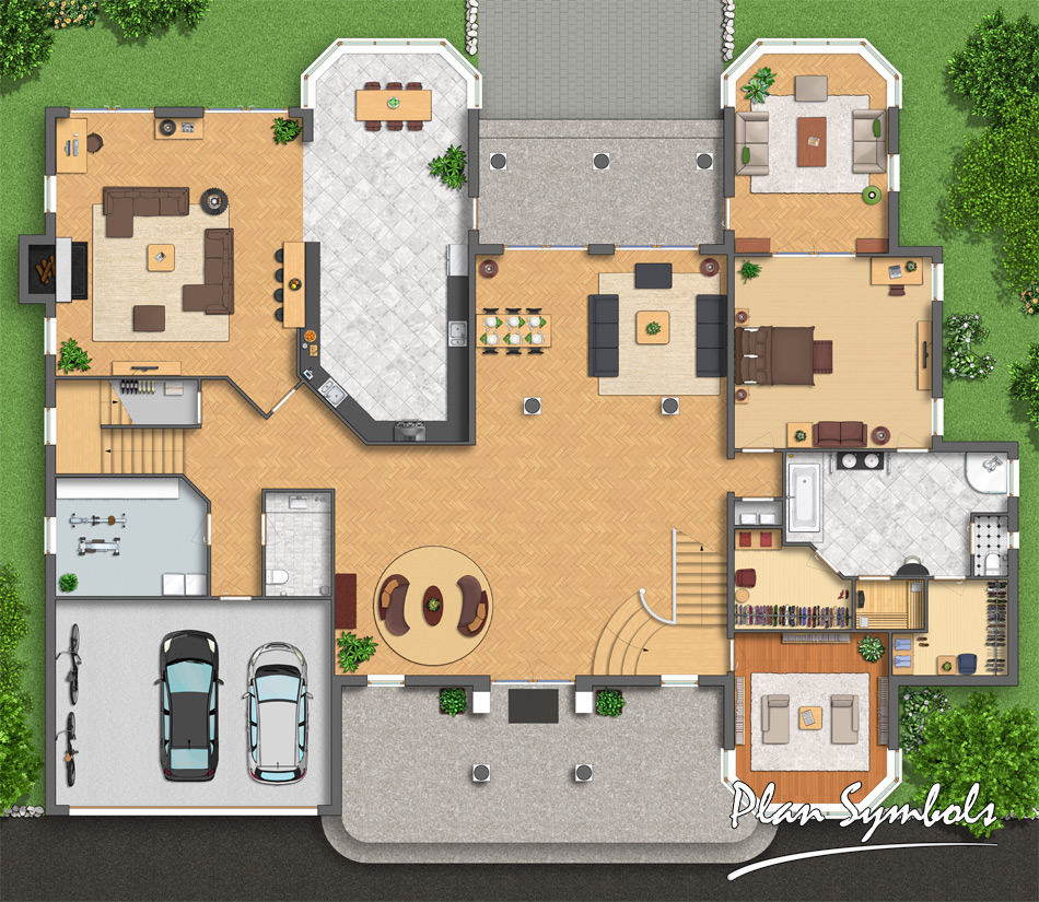 Big Villa Floor Plan By Plan Symbols On Deviantart