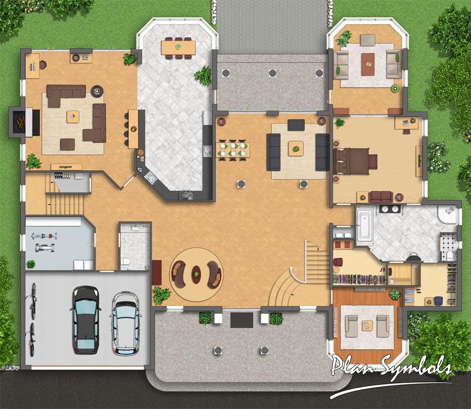 Big Villa Floor Plan By Plan Symbols On DeviantArt