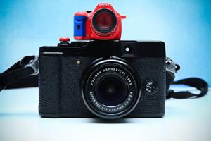 Pentax K-x Miniature Meets Fuji X10 by otaru23