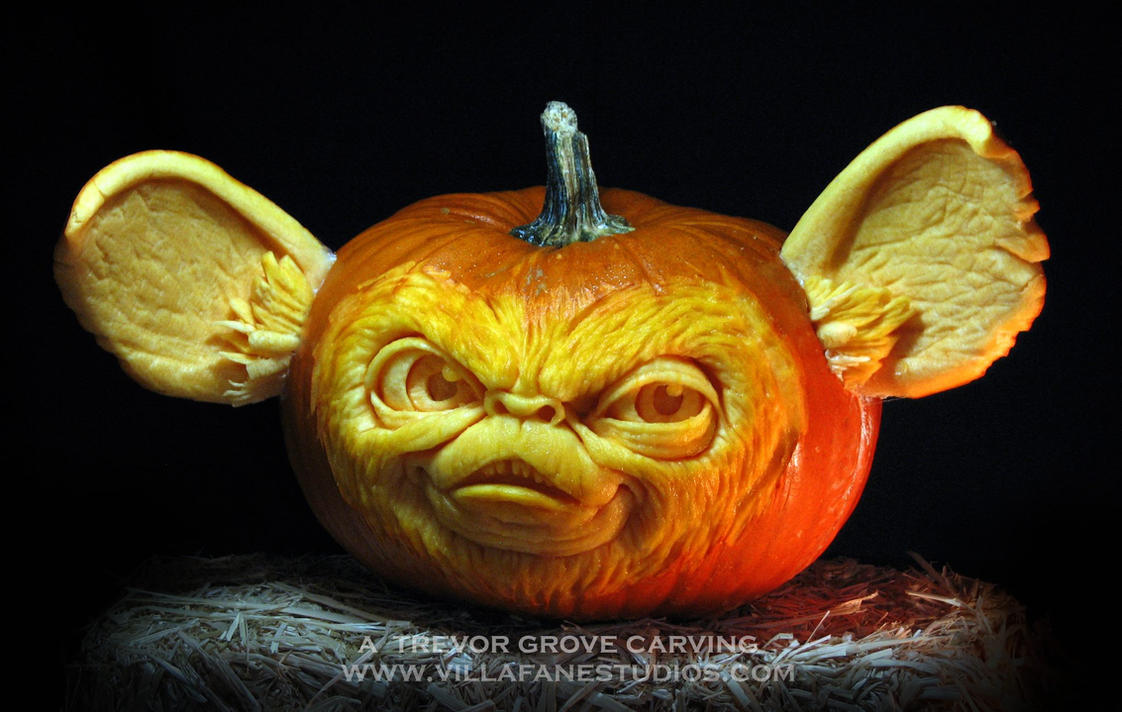 Mogwai pumpkin by trevorgrove on deviantart Awesome pumpkin drawings