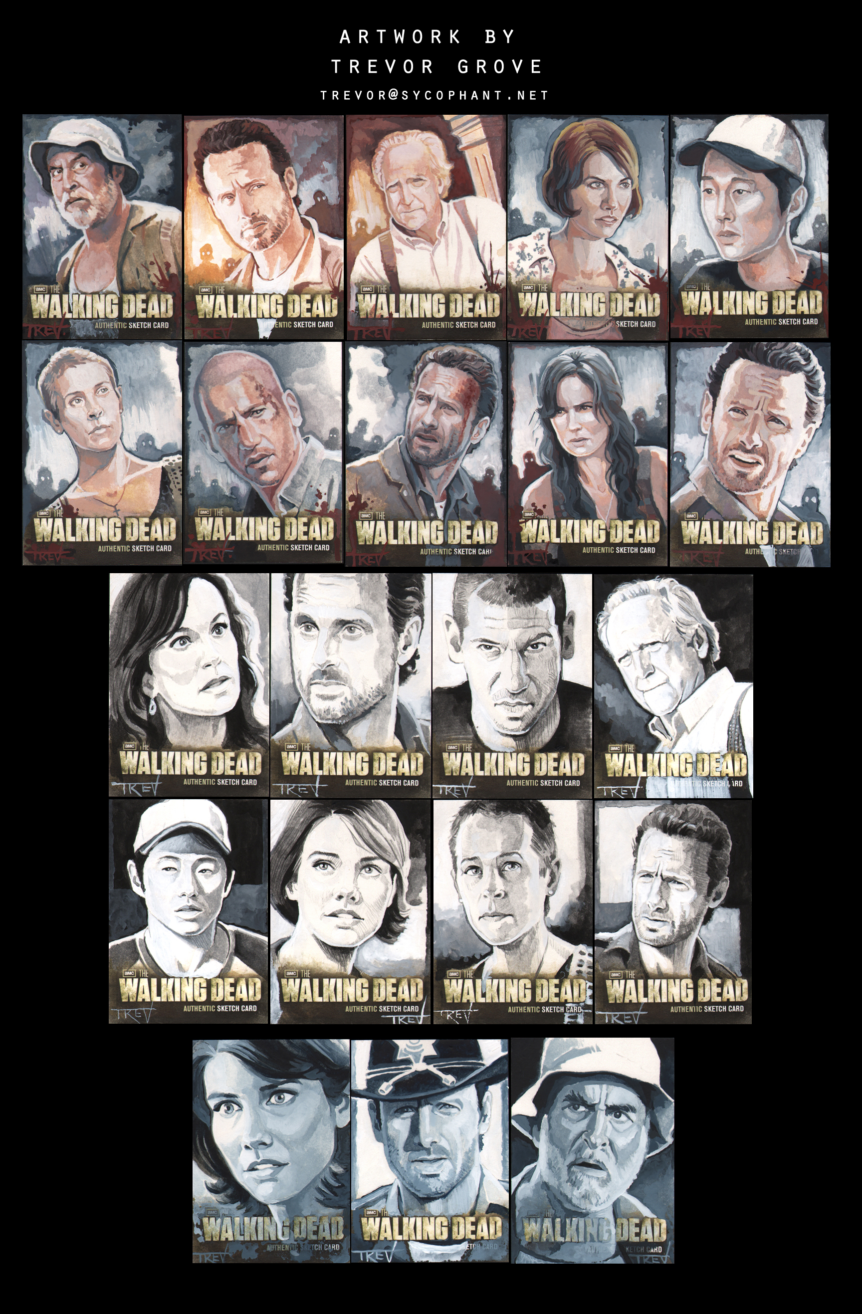 WALKING DEAD Sketch Cards by TrevorGrove