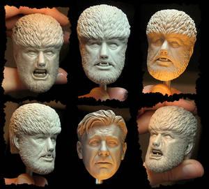 NECA Wolf Man Headsculpts