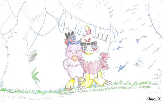 Biyomon and Hawkmon