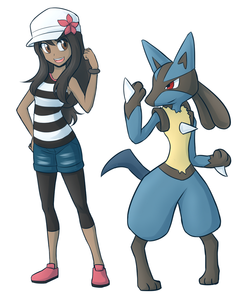 Trainer Steph and Lucario by SaBasse