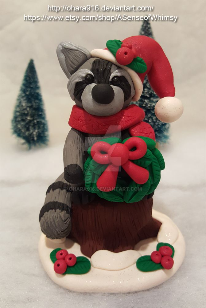 Raccoon with a Wreath: Available by ohara916