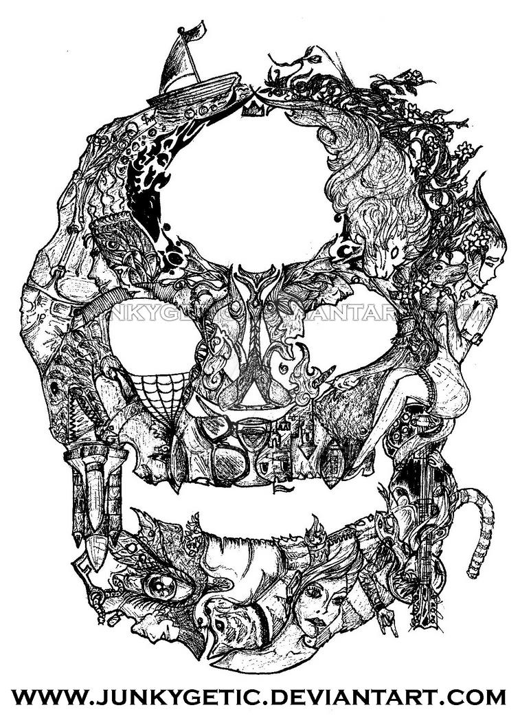 Tattooed Skull by junkygetic