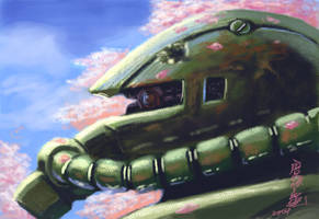 Zaku II with Cherry Blossoms by Tanqexe