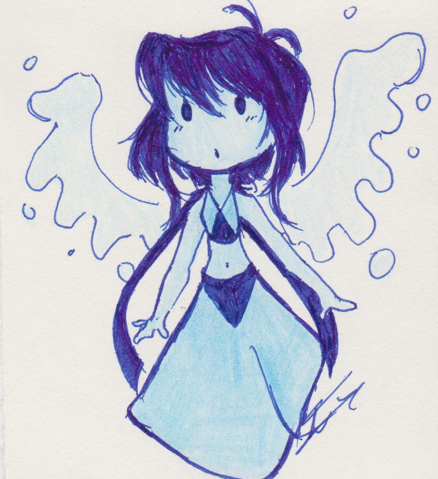 HEY GUYS ! °D° I'm back (Yep and I'm not dead ) Sorry for my inactivity x: So, here it is, a little drawing of my dear Lapis Lazuli in a chibi style, if I can say so. It's kind of sketchy...