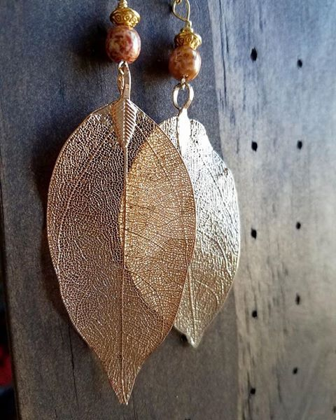 Silver Plated Leaf Earrings by dnort709