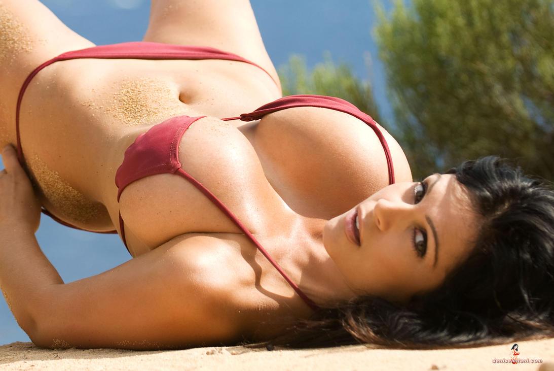 Denise Milani Burgandy Bikini by k1ngxx