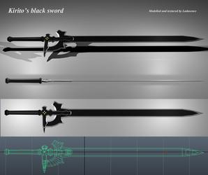 Sword art online - Kirito's black sword model by Ladusence
