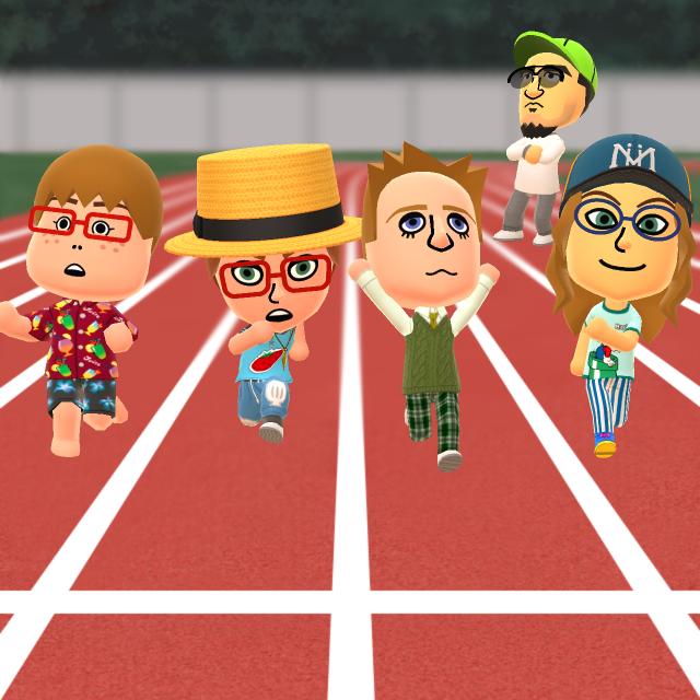 Standard Mii Gang as kids running on the track by robbieraeful on DeviantArt