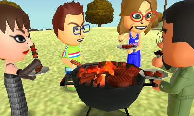 Susana, Oscar, Ashley, and Kentaro at the cookout by robbieraeful