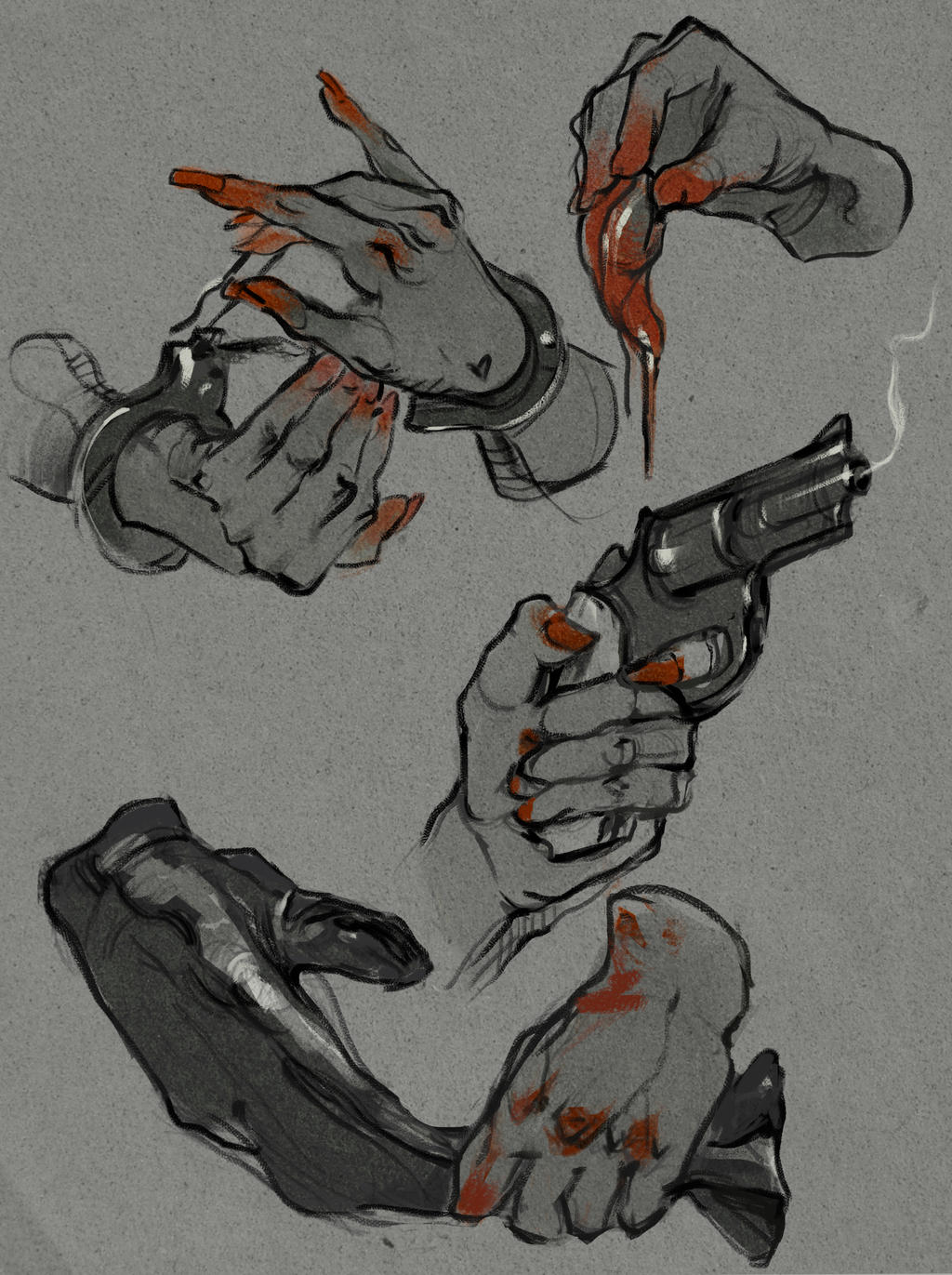 Hands drawing: Crime theme by SunnyJu