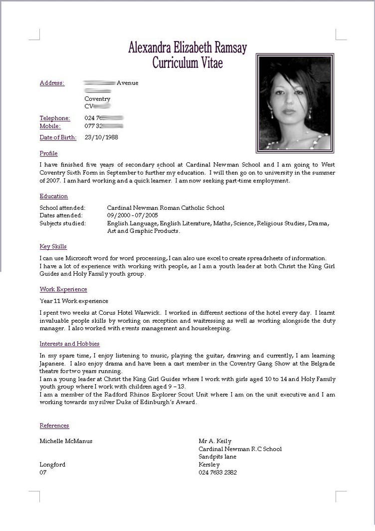 cv resume by akugouhime