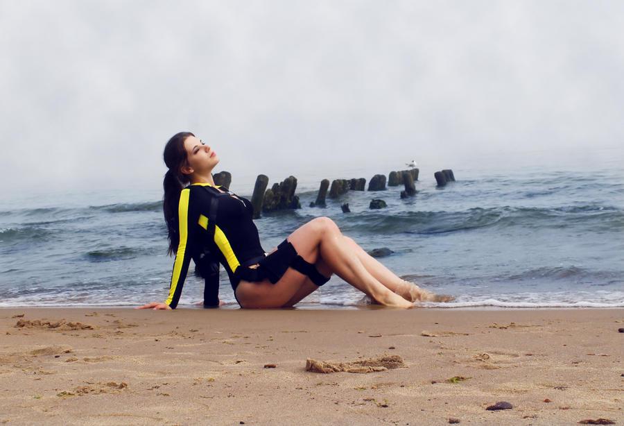 Lara Croft Underworld on the beach by Anastasya01