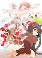 girls with weapon by Tomiokajiro