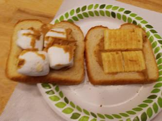 Peanut Butter with Cracker Marshmallow Sandwich by AnimeArtistMii