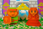3D 8-bit Link and Zelda Papercrafts