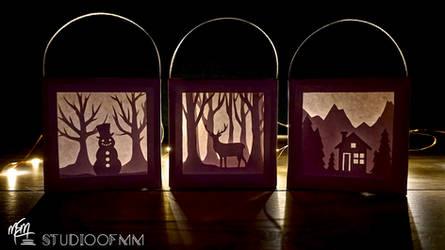 Winter Paper Lightbox Ornaments (Tutorial)