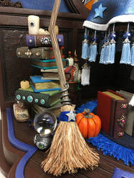 2018 Blue Witch Table Set Broom detail