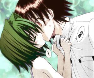 Shizuku and Yuuto Omamori Himari kiss scene