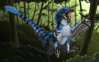 random blue raptor by Tacimur
