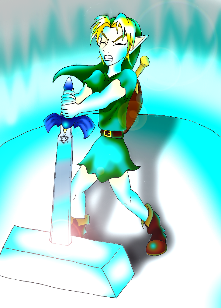 Link pulling the Master sword by ZeldAlice