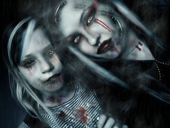 gothic girls wallpaper by L-A-Addams-Art