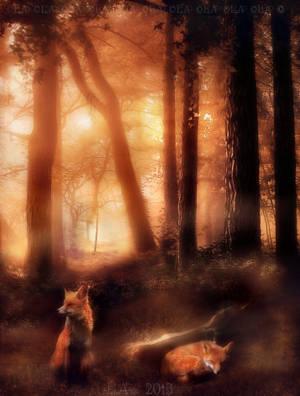 sunset wood by L-A-Addams-Art