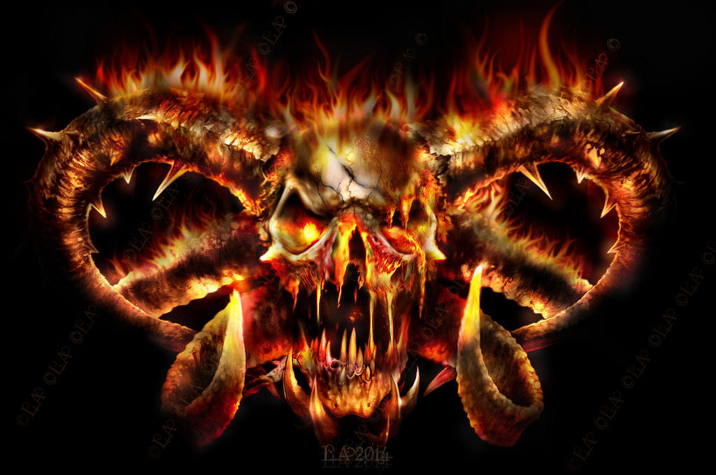 skull on fire by L-A-Addams-Art