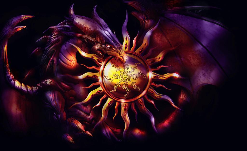dragon of rising sun by L-A-Addams-Art