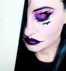 bat girl makeup by L-A-Addams-Art