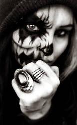 halloween half skull  makeup by L-A-Addams-Art