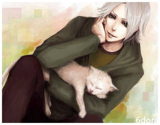 gokudera and a cat by shibakaien