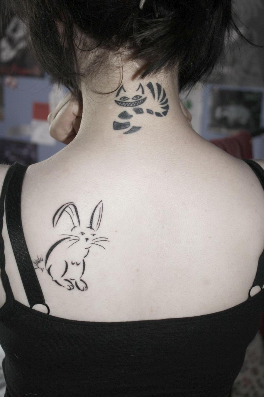 Cheshire Cat and Rabbit Tattoo