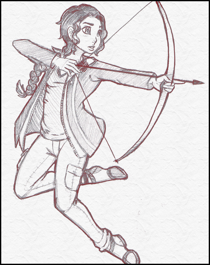 Prize - Katniss Sketch by TouchedVenus
