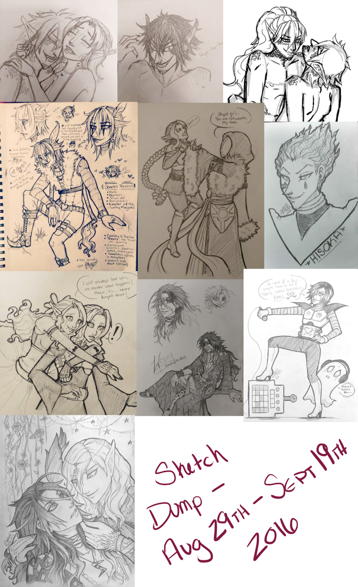 Sketch Dump for Aug 29th - Sept 19th 2016 by TouchedVenus