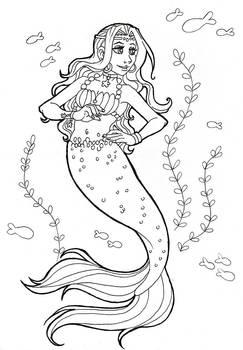 Mermaid - Coloring Page