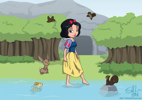 Downstream with Snow White by scheree
