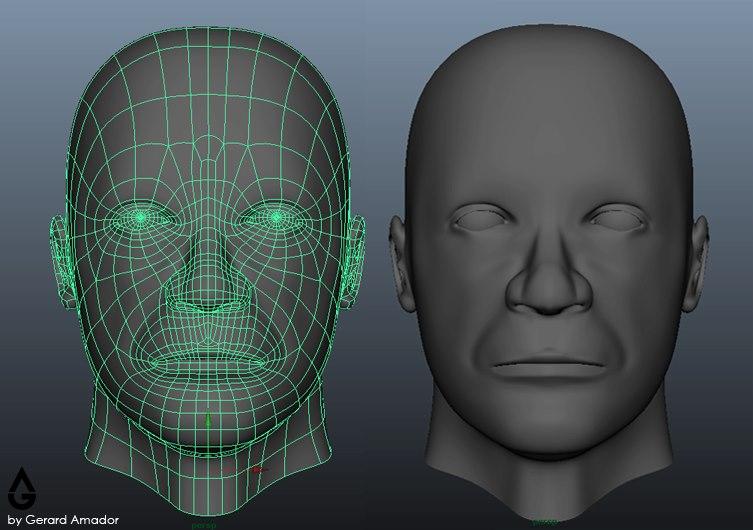 Human face 3d model by gerardamador on deviantart for 3ds max face modeling