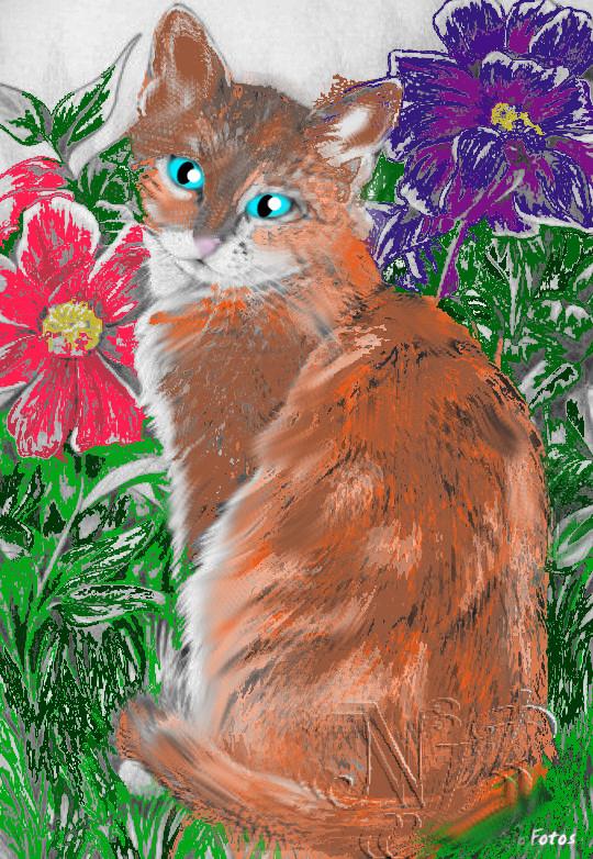 Kitten In The Garden by DemonaTheOperator