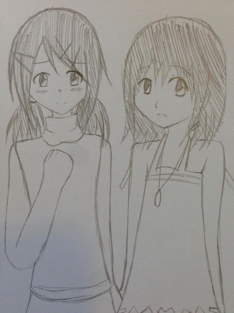 Little Sango and Kairi by kncrystalmaiden