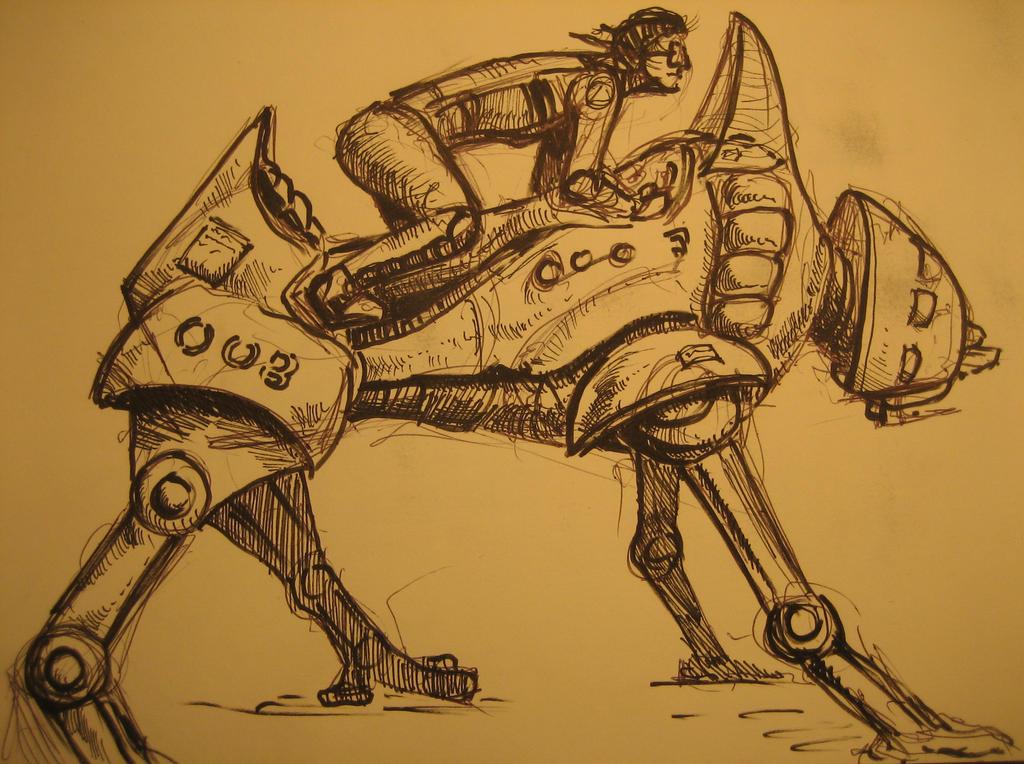 Deimos Saga M3S-14 Quad-bot: Concept Art by Tadpole7