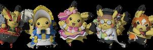 The Cosplay Pikachu's by TheAdorableOshawott