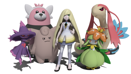 Aether President Lusamine and co.